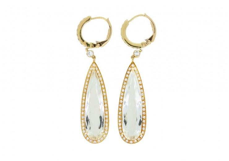 Pre-owned 18ct Gold Crystal & Diamond Drop Earrings