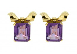 Pre-Owned 18ct Gold Clip On Amethyst Earrings