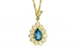 Pre-owned 18ct Gold Blue Topaz & Diamond Teardrop Pendant