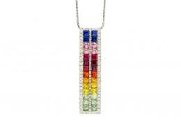 Pre-owned 14ct White Gold Rainbow Sapphire & Diamond Pendant